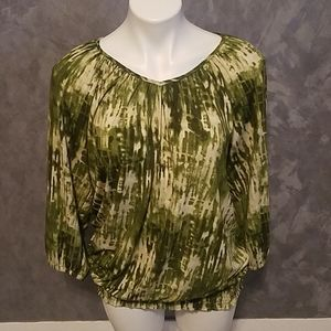 Susan Graver Green White Blouse Size Small